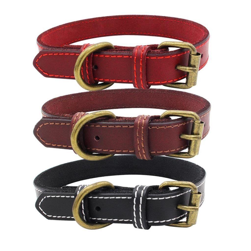 Leather soft collar large dog adjustable k9king small