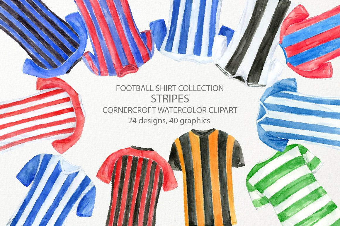 Watercolour Football Shirt In Stripes Watercolor Football Clipart