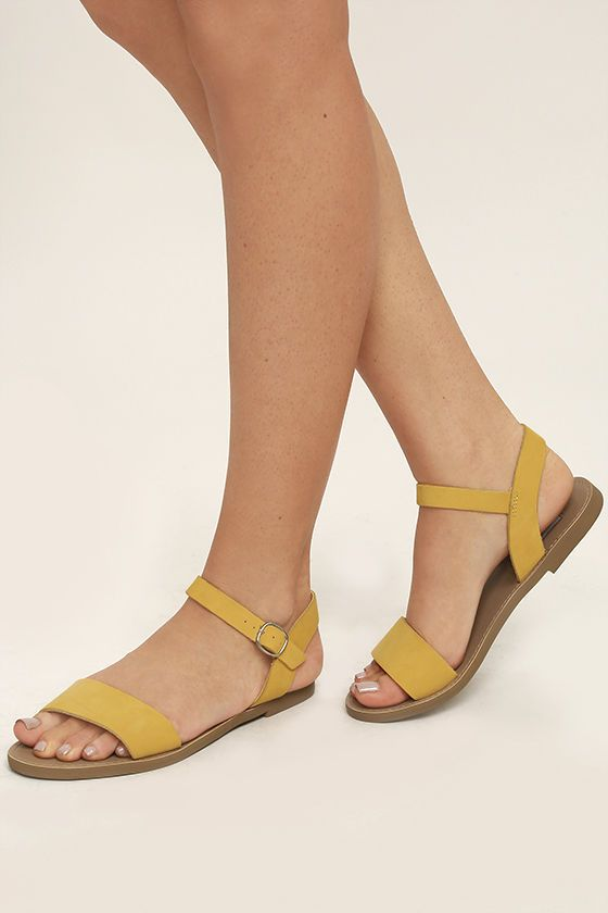 6a921214f Then make your travel partner the Steve Madden Donddi Yellow Nubuck Leather Flat  Sandals! A genuine leather toe band pairs with an adjustable quarter strap  ...