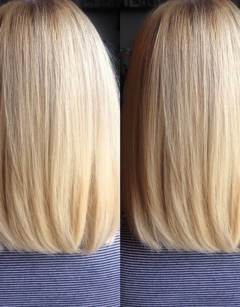 back view of long bob haircut, blunt cut with subtle layers