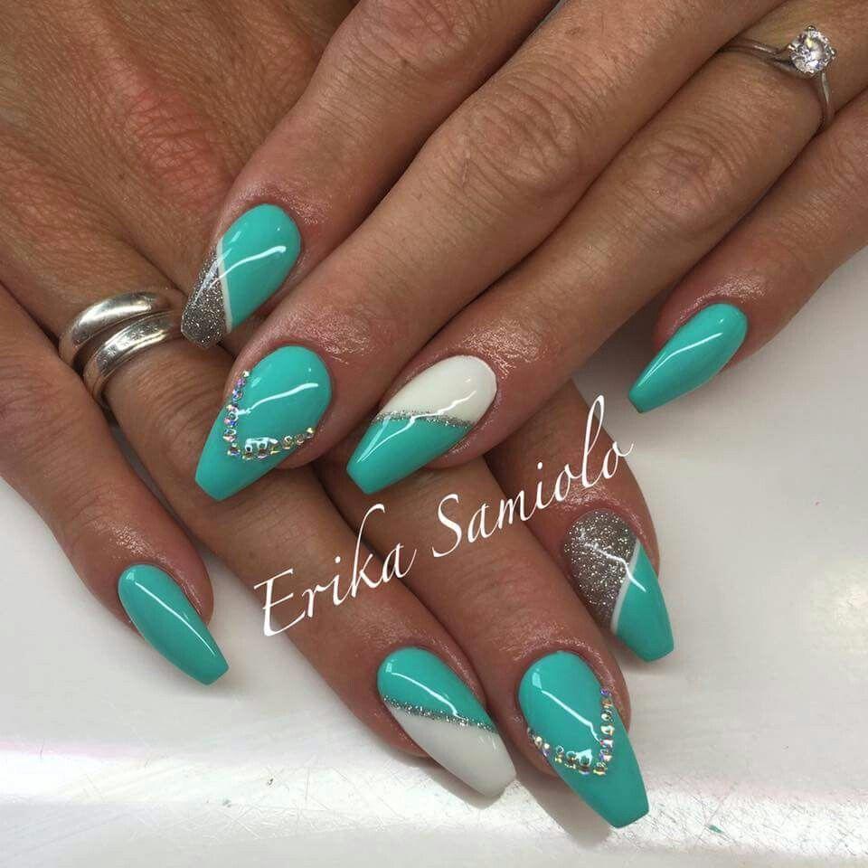 Verde Tiffany argento glitter strass bianco