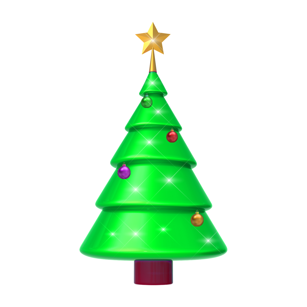 Free download green 3d Christmas tree png transparent