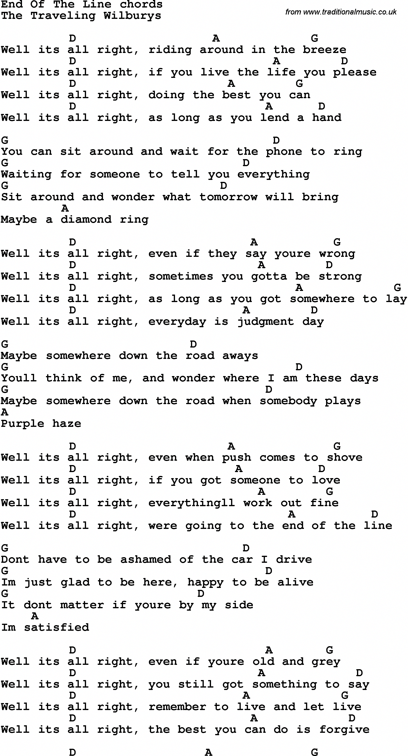 Song Lyrics with guitar chords for End Of The Line #ukulelelessons