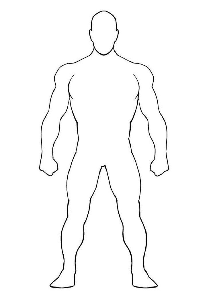 Blank Superhero Coloring Pages Superhero Template Superhero Coloring Body Template