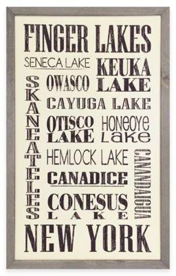 Vintage Finger Lakes Sign Framed Wall Art In Cream Lake Signs Framed Wall Art Primitive Crafts