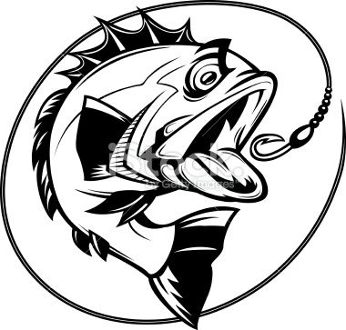 cartoon illustration of a bass chasing a hook bass fishing vector rh pinterest com Fish Hooks Cartoon Fish Hook Tribal Tattoo Designs