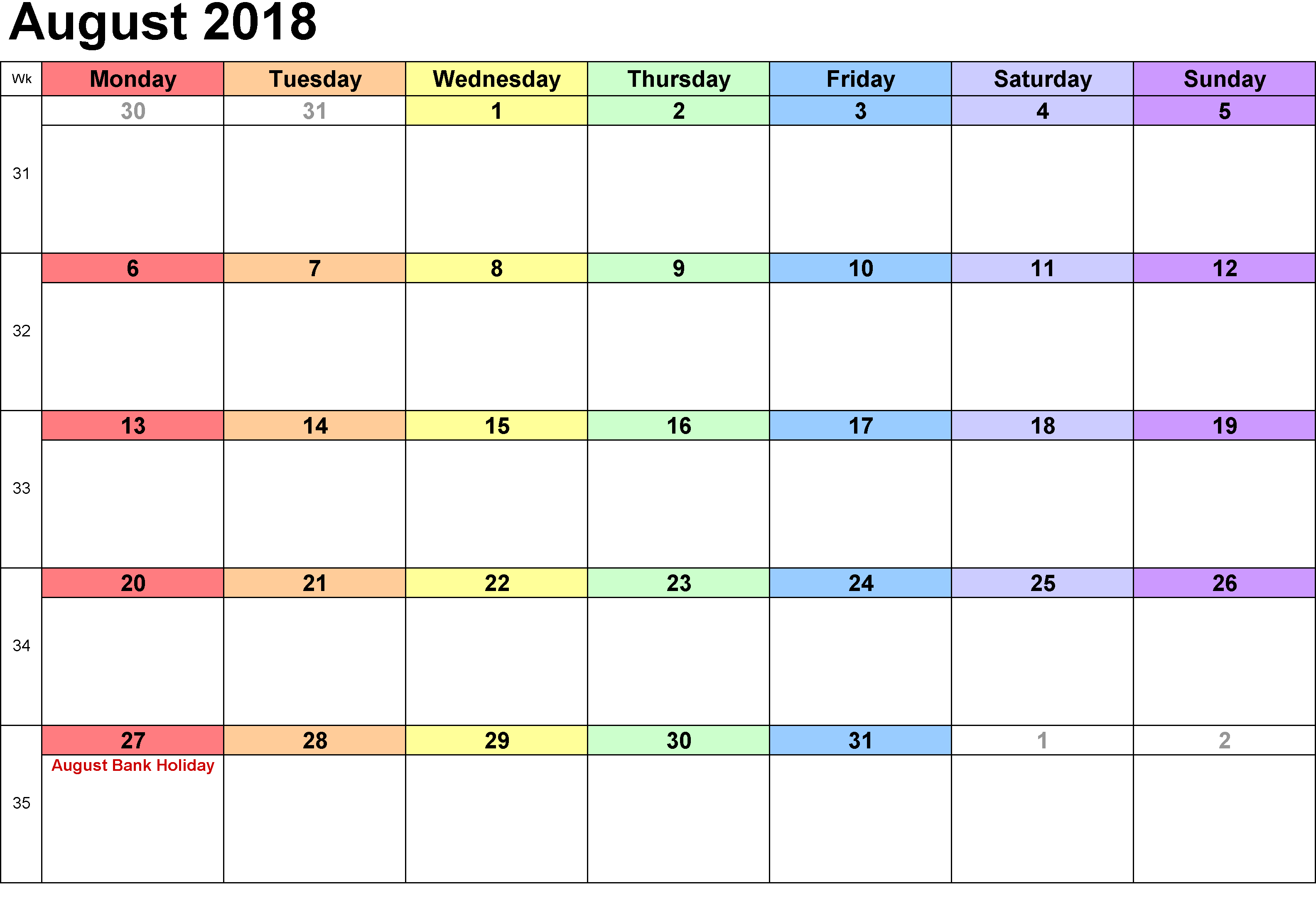blank calendar august 2018 with bank holidays
