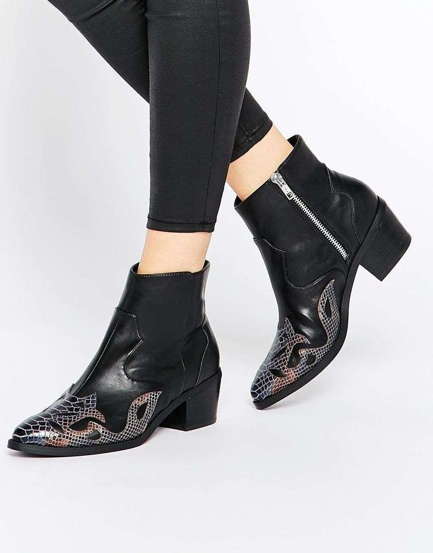 f784161d710 ASOS RUTLAND Western Ankle Boots | FASHION in 2019 | Western shoes ...