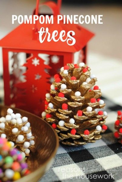 Such a cute craft for the holidays Pinecone Trees! They bring the outdoor look inside and then gives it some color! Click for the tutorial!