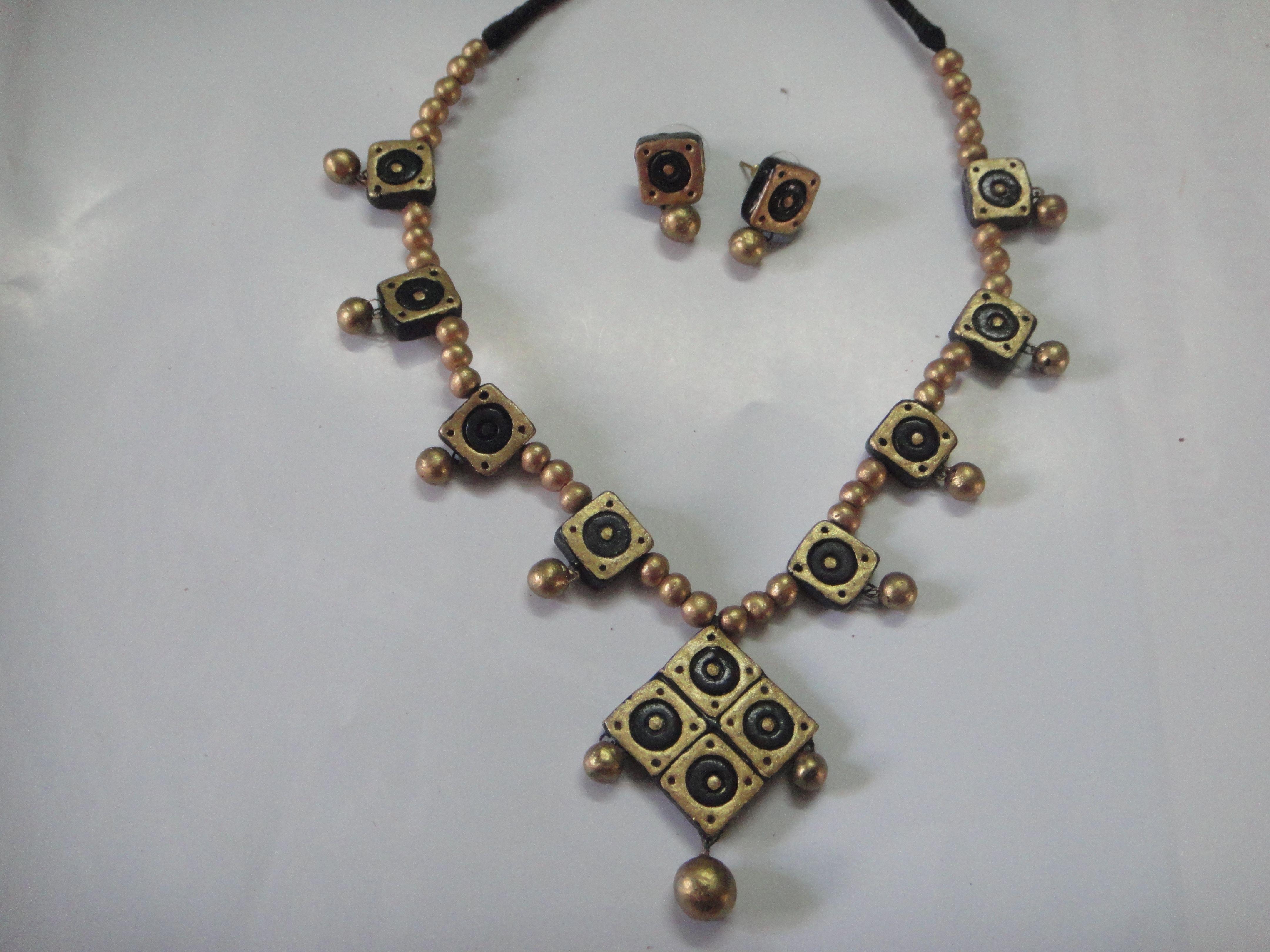 Exciting black terracotta necklace shefali jewellery u fashion