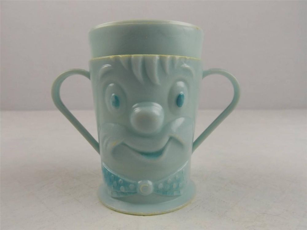 Vintage Sippy Cup The Weaning Cup Corp. Blue Clown 2 Handles Made ...