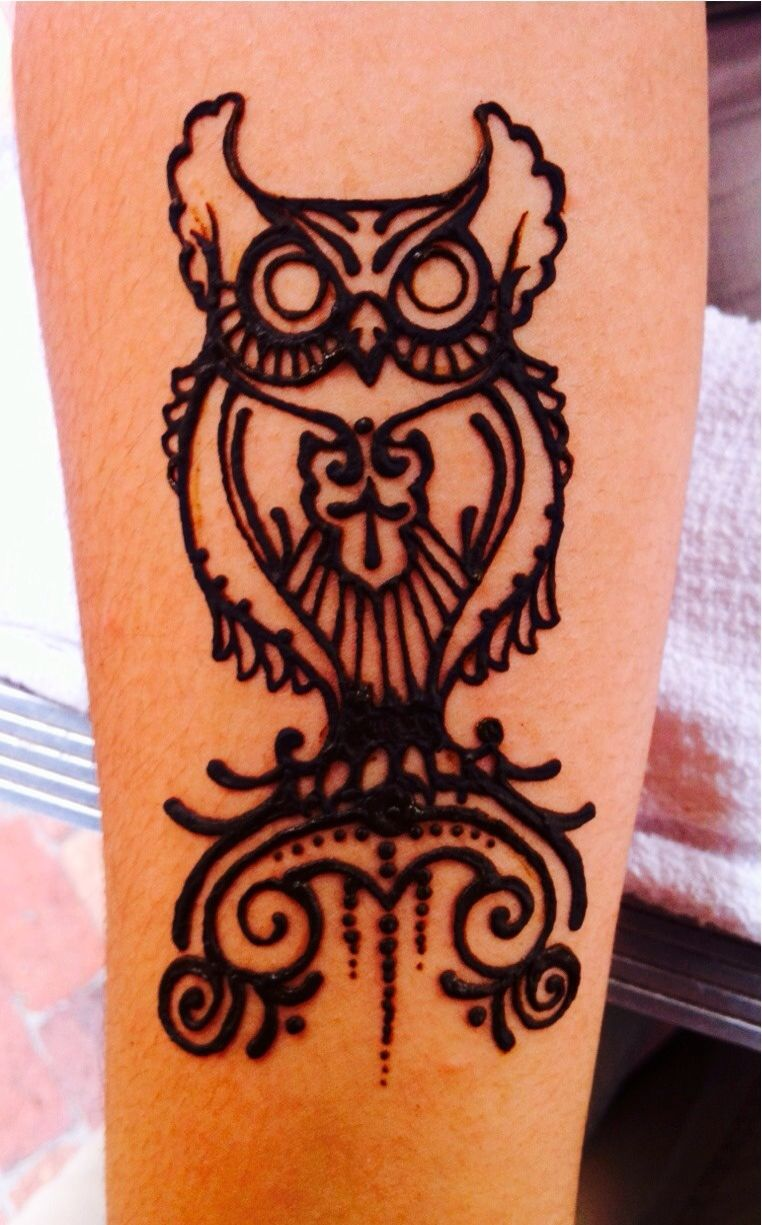 This Owl Henna Tattoo Would Look Good On A Calf Henna Tattoo Henna Designs Hand Learn Henna