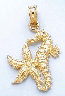 14k Gold Nautical Necklace Charm Pendant Starfish Sea Star