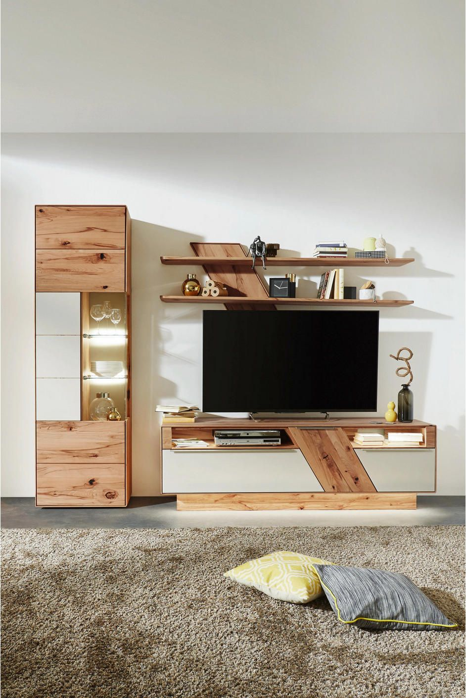 Wohnwand In Weiss Buchefarben Tv Shelf Design Wall Unit Designs Apartment Interior Design
