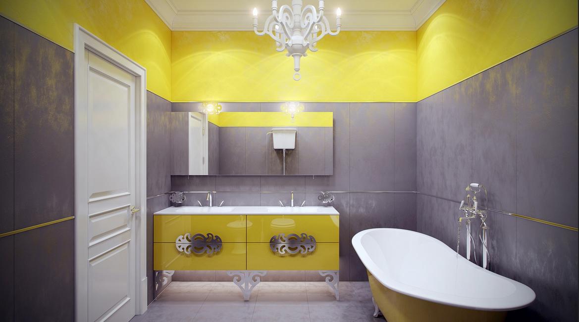 Badezimmer Wandfarbe Badezimmer Mit Gelb Und Grau
