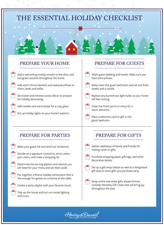 Printable Holiday Checklist by Harry \ David Holiday checklist - christmas preparation checklist