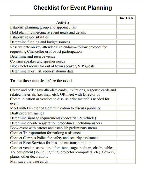 event planning checklist template Event Planning Pinterest - free event proposal template