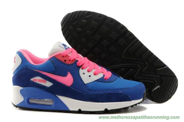 air max 90 branco azul e rosa