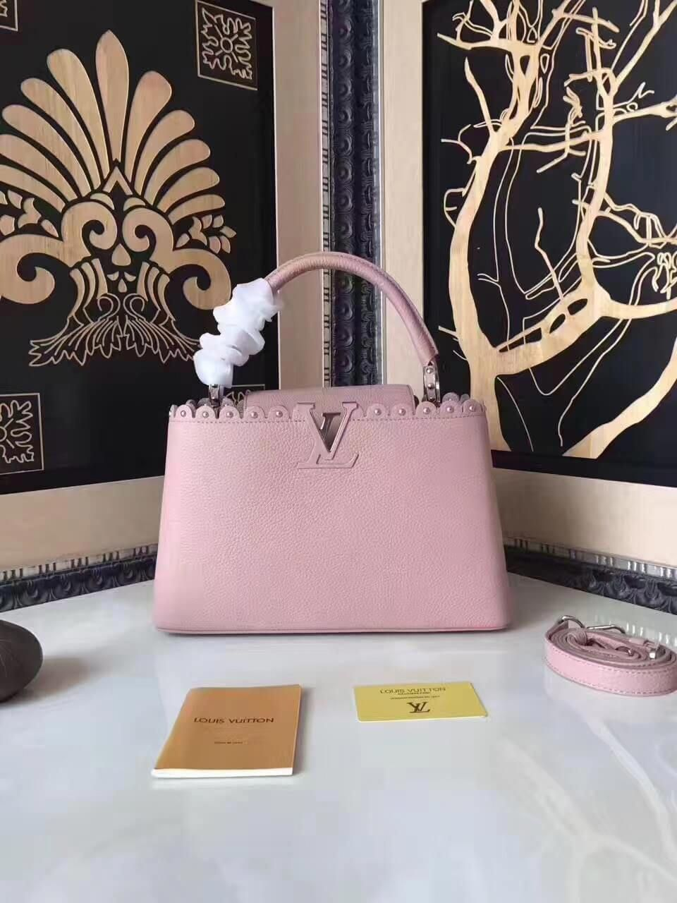 Louis Vuitton Taurillon Leather Capucines PM With Lace   Studs Edge Pink  2017  Louisvuittonhandbags 555f48efc1