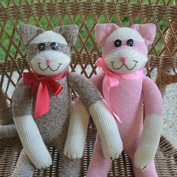 Sock Monkey Cat Doll Kitty In Choice Of Color By Marysmonkeys
