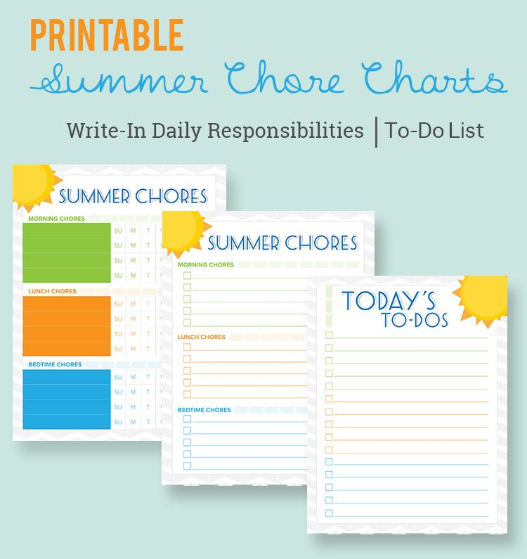 Free Printable Summer Chore Charts For Kids  A Free Boy And Girl