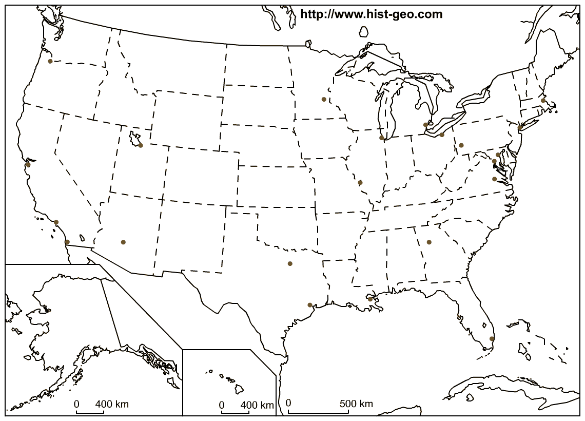 High definition blank map about the USA focused on the 50 states and ...