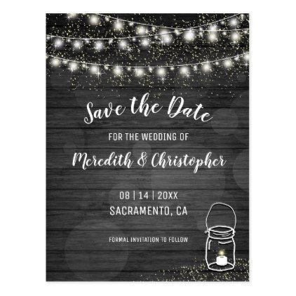 Black Rustic Wood String Lights Mason Jar Wedding Postcard