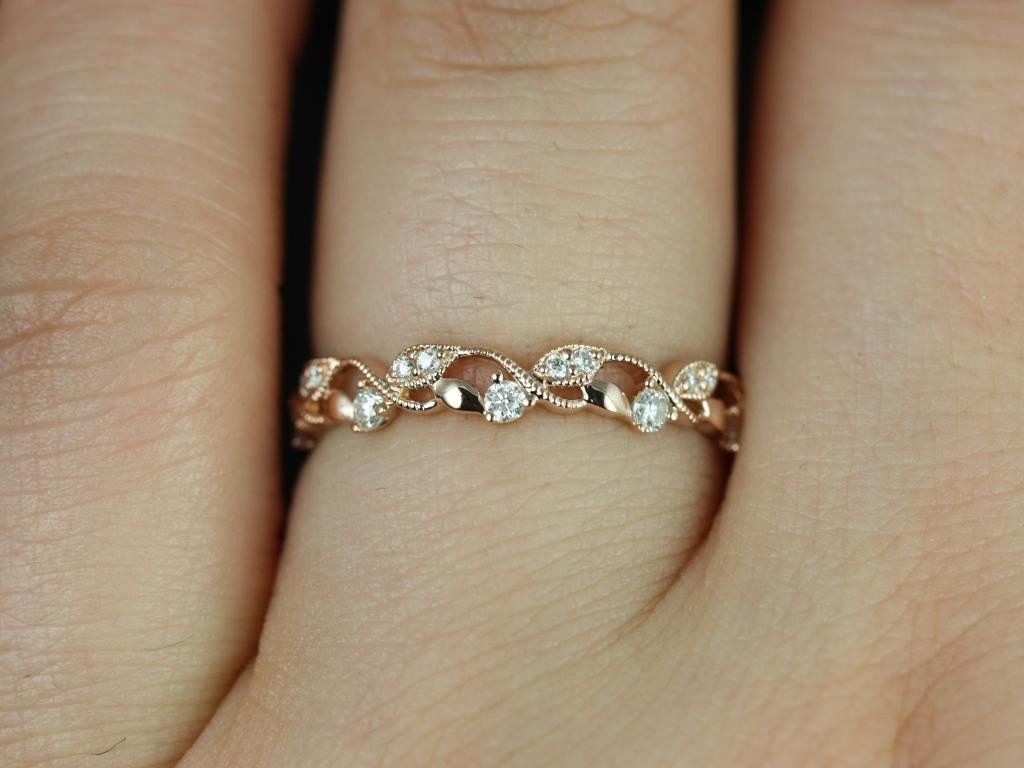 rosados box daphine rose gold thin weaving leaves diamonds berries halfway eternity band - Leaf Wedding Ring