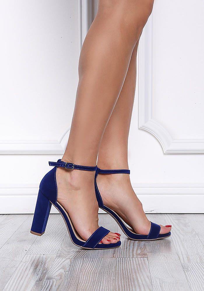 839462b1432 Royal Blue Velvet Ankle Strap Block Heels | Heels in 2019 | Ankle ...