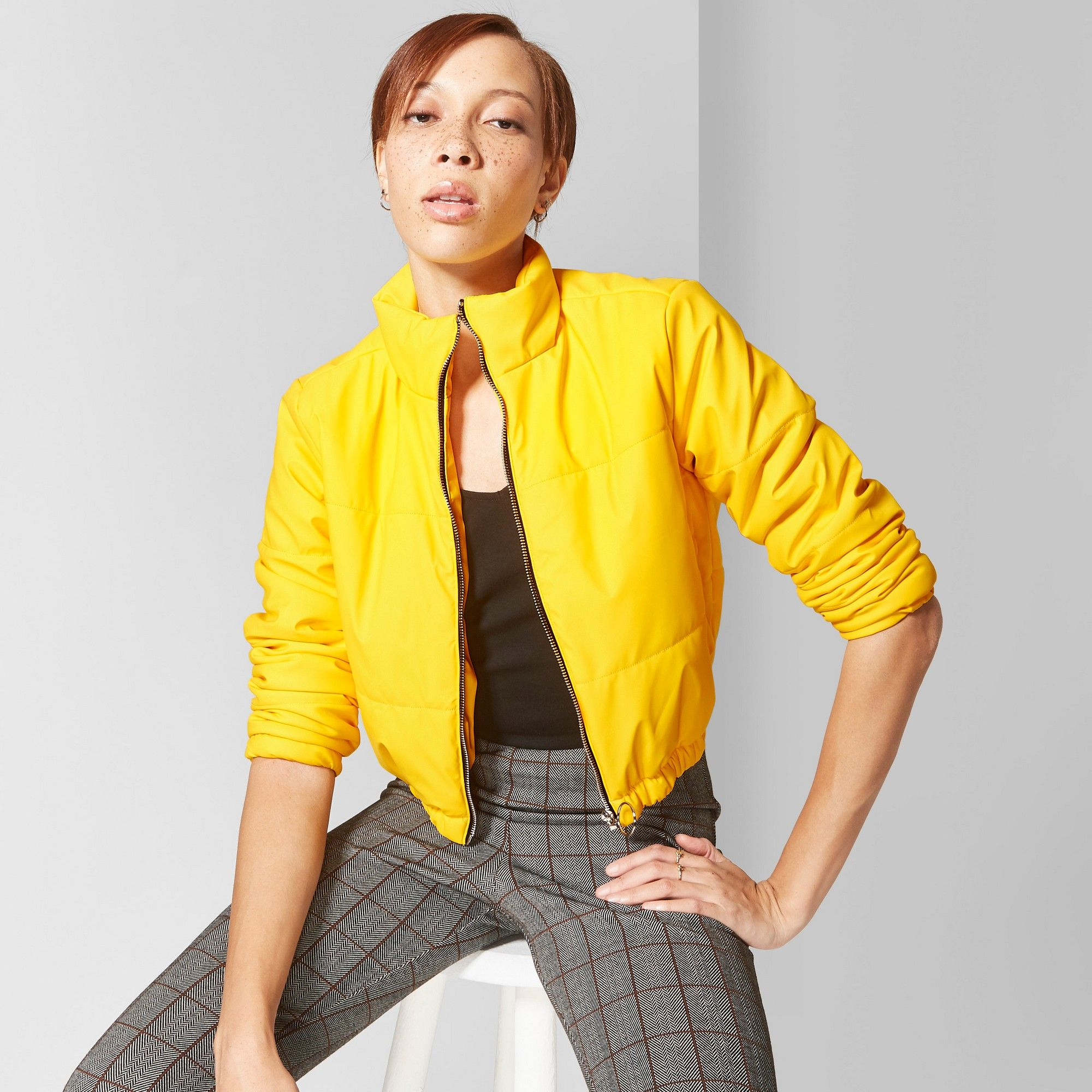5c241516 Women's Cropped Puffer Jackets - Wild Fable Yellow Xxl   Products ...