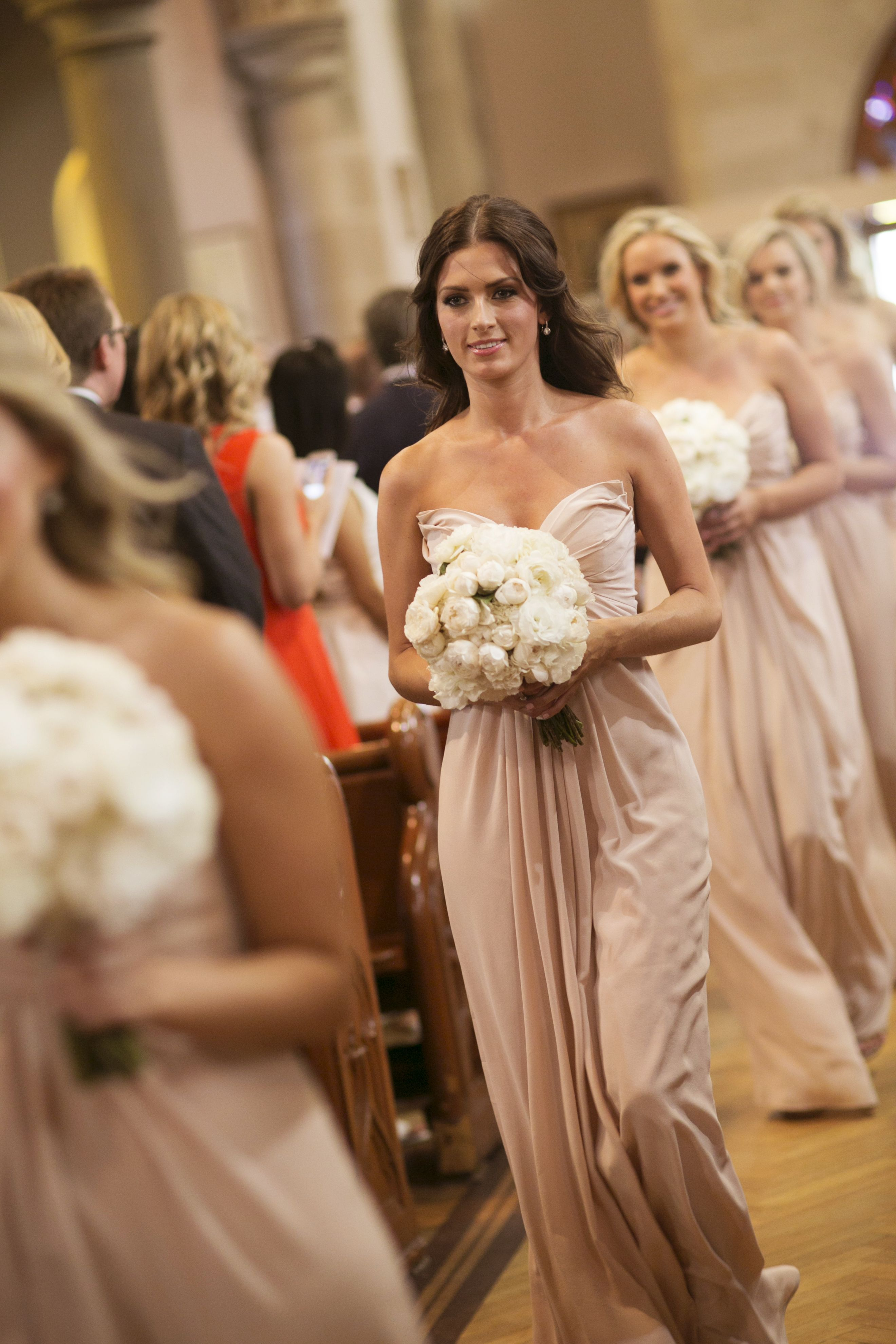 Blush bridesmaid dresses and white bouquet | itakeyou.co.uk
