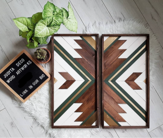 Photo of Boho Pattern Wood Art – Set Green – Set of two – size per panel 80 cm x 35 cm
