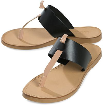 be42478557ba Pieces Knotted Thong Leather Sandals in black and nude (Joie Nice A La  Plage dupes)