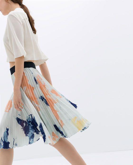 53b903d1 Image 3 of PLEATED PRINT SKIRT from Zara   Roam   Pleated skirt ...