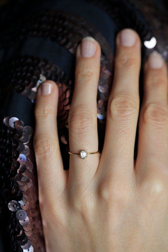 Photo of Emerald Cut Engagement Ring, Diamond Ring, Rose Gold White Diamond Solitaire, 0.3-0.7 Carat GIA Certified Diamond, Minimalist Wedding Ring