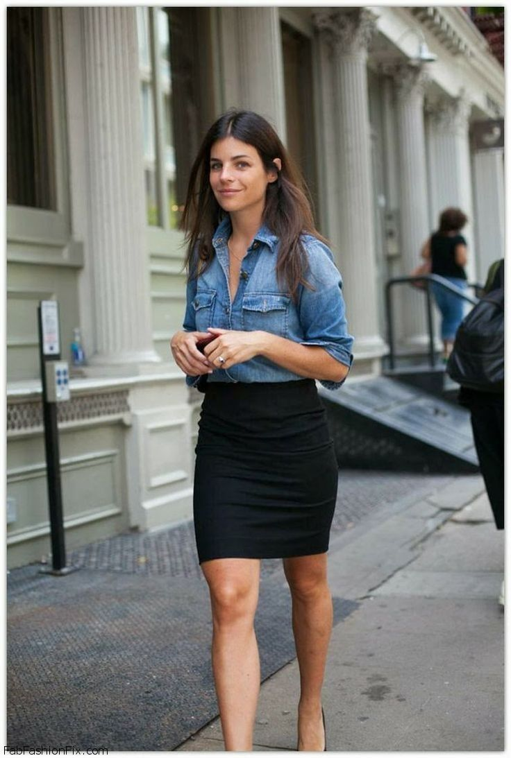 To acquire Shirt Denim and black skirt picture trends