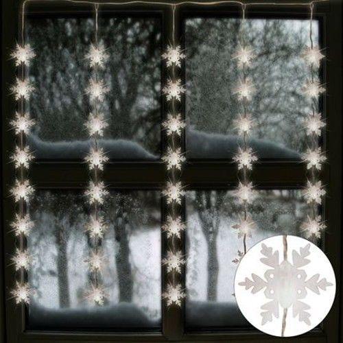 Fensterlicht Weihnachten.Led Lichtervorhang Schneeflocken 75x85cm Weihnachten 40
