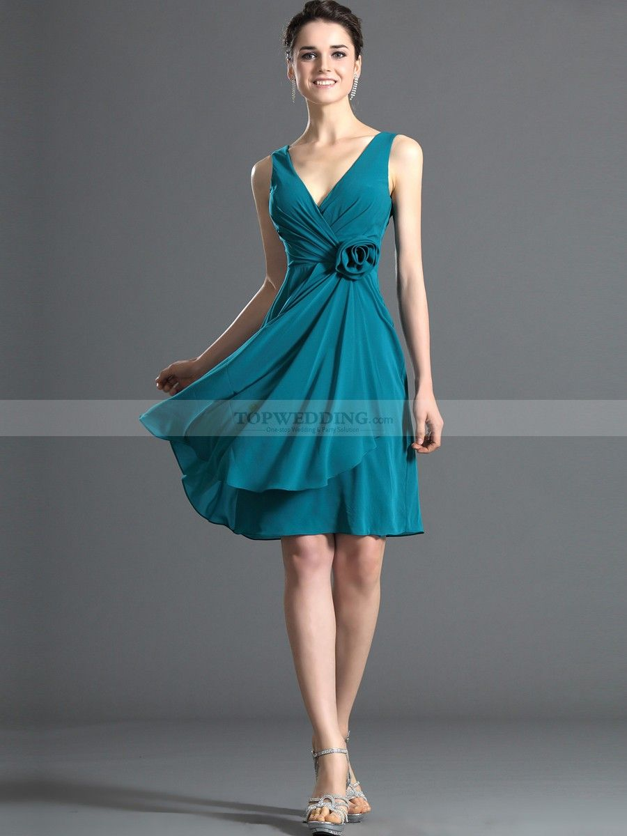 Sleeveless Deep V Neck Short Chiffon Bridesmaid Dress with Floral ...