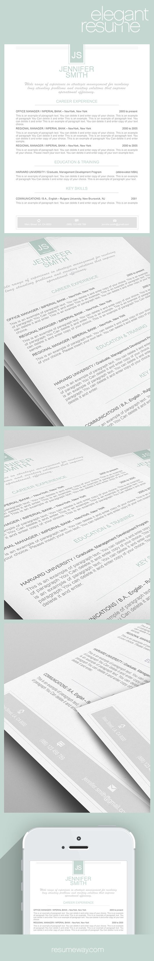 Elegant Resume Template   Premium Line Of Resume  Cover