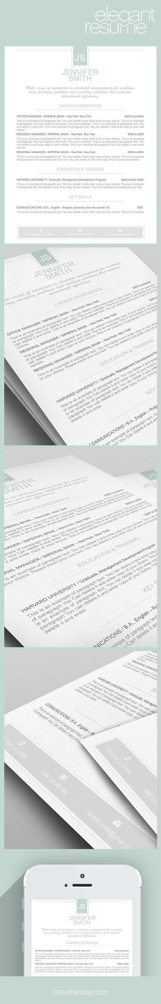 Elegant Resume Template 110450 - Premium line of Resume & Cover ...