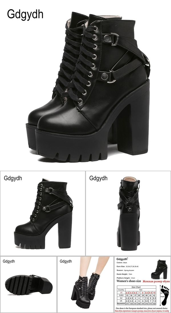 f67eec8ac22 Gdgydh Fashion Black Boots Women Heel Spring Autumn Lace-up Soft Leather  Platform Shoes Woman