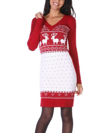 $29.99 marked down from $79!! Red & White Fair Isle Sweater Dress ...