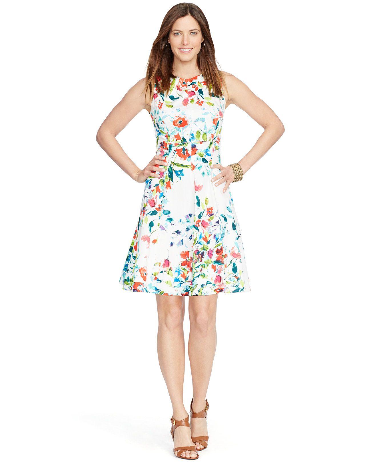 What to wear over a sleeveless dress to a wedding  American Living Sleeveless FloralPrint Dress  Dresses  Women