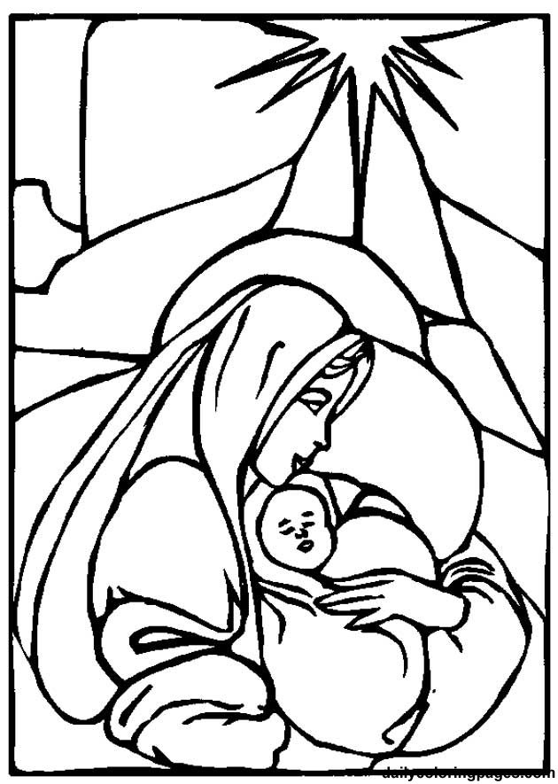 coloring pages bible jesus mary | Child Jesus With Mother Mary Coloring Page Baby Jesus ...