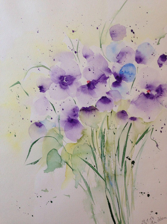 Original Watercolor Watercolor Painting Floral Image Watercolor