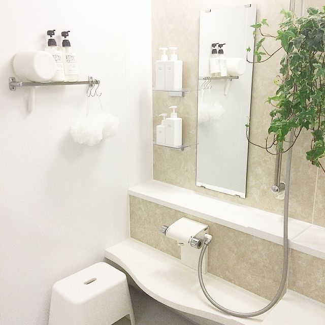 バス トイレ へデラ 観葉植物 無印良品 白 などのインテリア実例