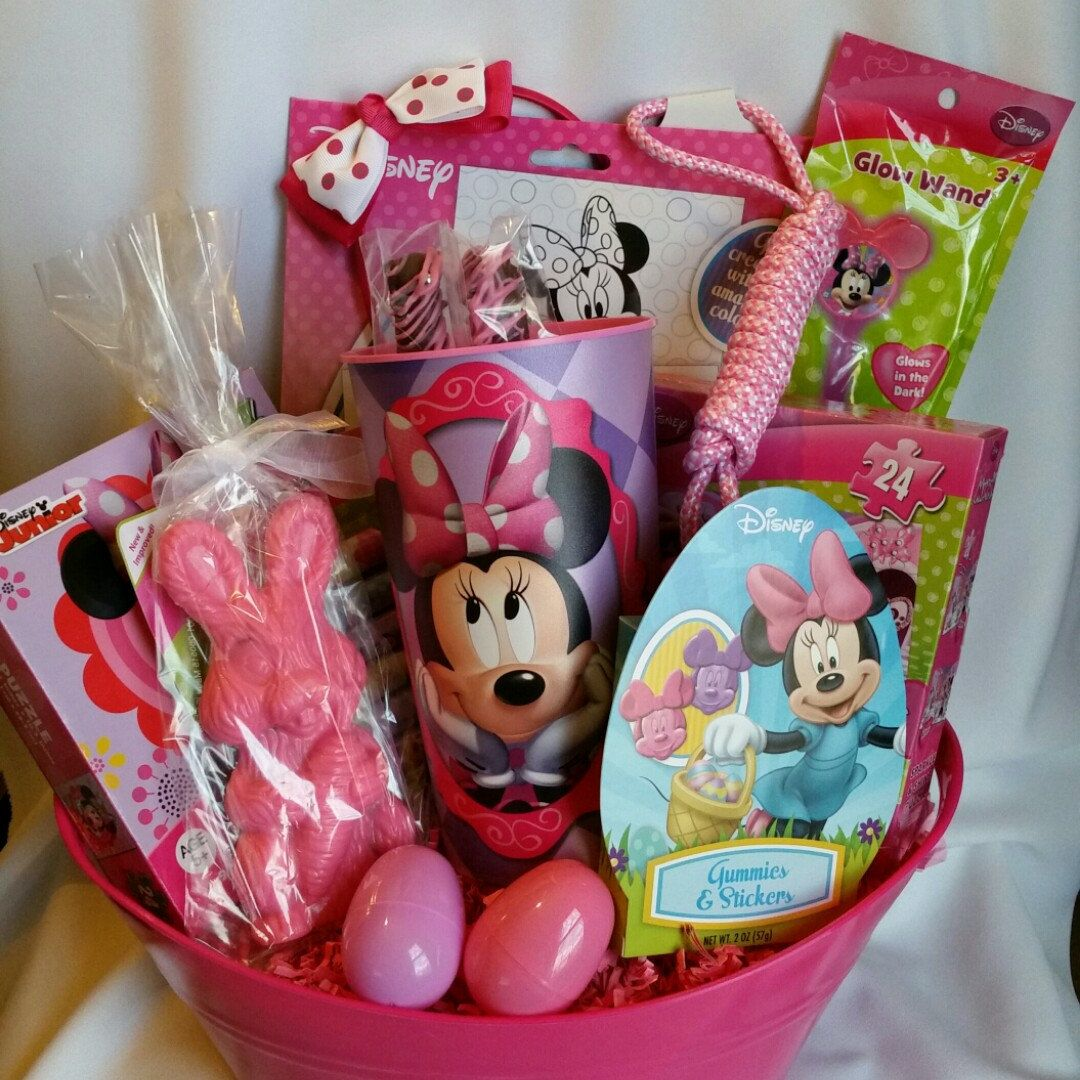Minnie themed easter basket with pink white chocolate bunny minnie themed easter basket with pink white chocolate bunny chocolate covered pretzels negle Choice Image