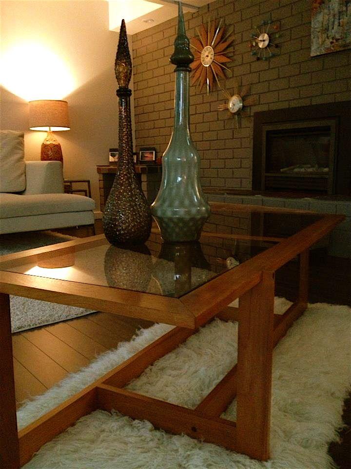 Danish modern teak and smoked glass coffee table
