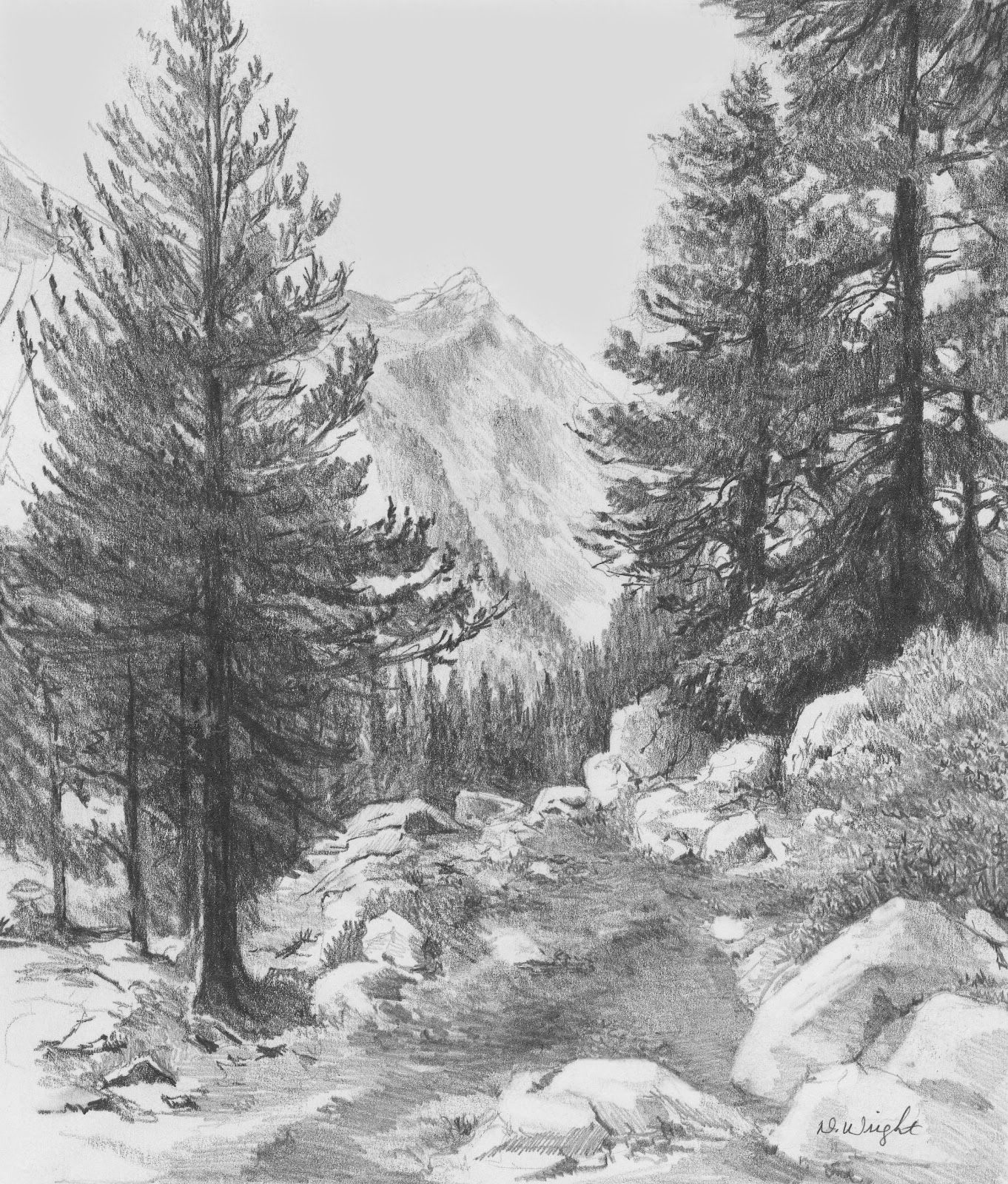 Landscape drawings in pencil reintroducing pencils com teaching artist diane wright