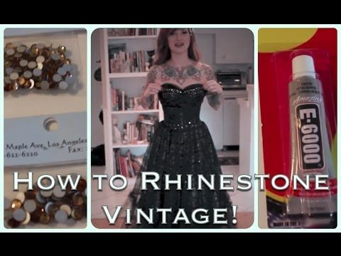 b63cf5d2cd6 DIY How to add sparkle to a vintage dress with rhinestones by CHERRY  DOLLFACE - YouTube